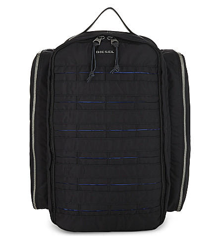 DIESEL M-24/7 Super nylon backpack (Black/blue