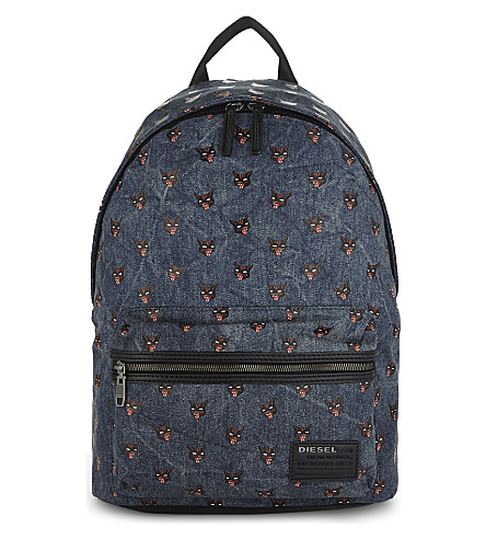 DIESEL F-Easy-Pop printed backpack (Blue+denim