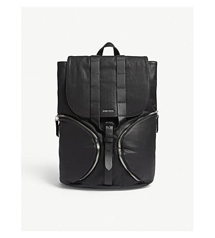 DIESEL D-xploration leather panel backpack (Black+denim