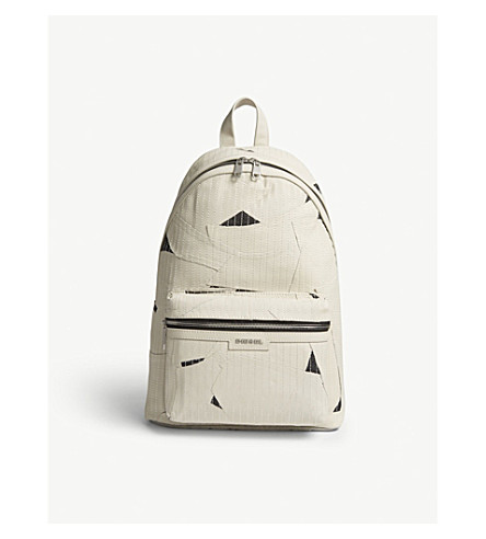 DIESEL L-grungy leather panel backpack (Turtledove