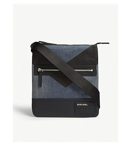 DIESEL V4 denim cross-body bag (Blue+denim/black
