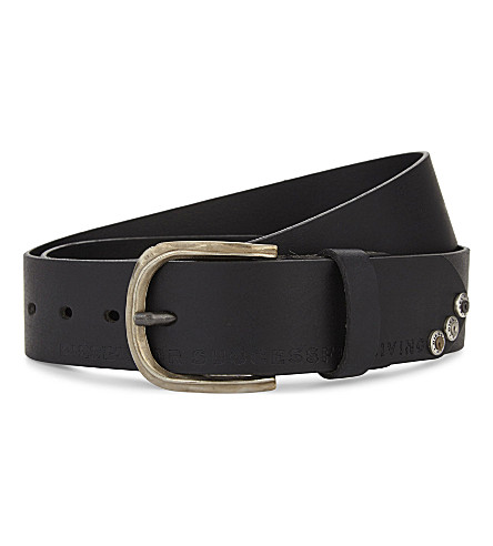DIESEL Logo leather belt (Black