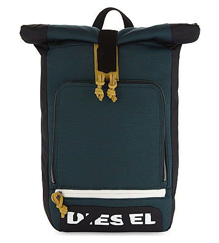 DIESEL Embroidered eagle backpack (Black