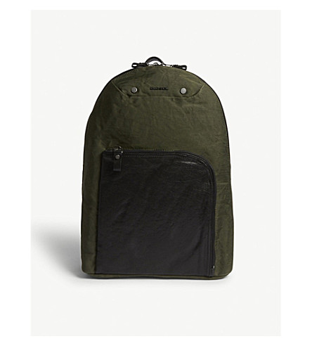 DIESEL L4-mix leather panel backpack (Olive+drab