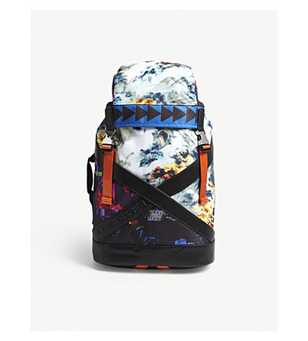 DIESEL Xxback floral nylon backpack (Printing/black