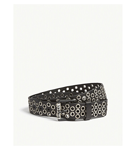 DIESEL B-Vlad leather rivet belt (Black