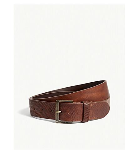 DIESEL B-mrhide textured leather belt (Tortoise+shell