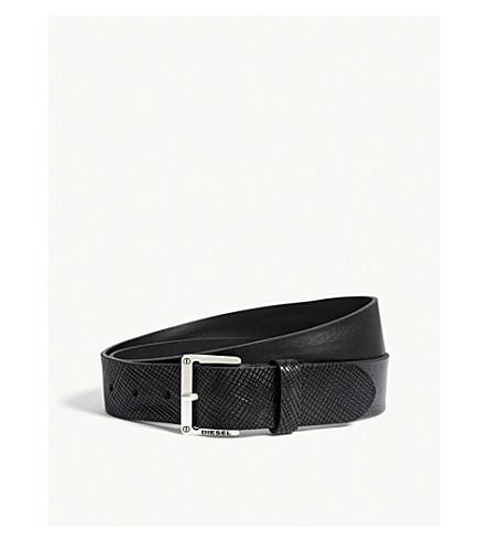 DIESEL B-mrhide textured leather belt (Black