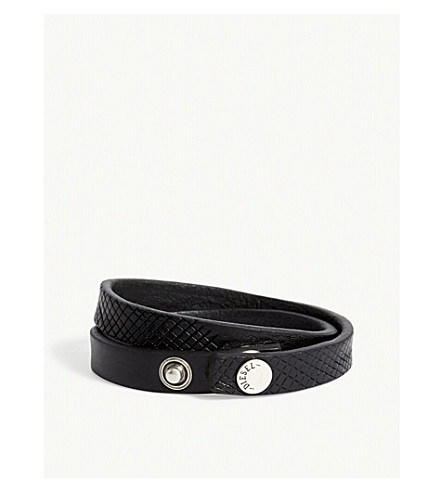DIESEL A-mrhide leather bracelet (Black