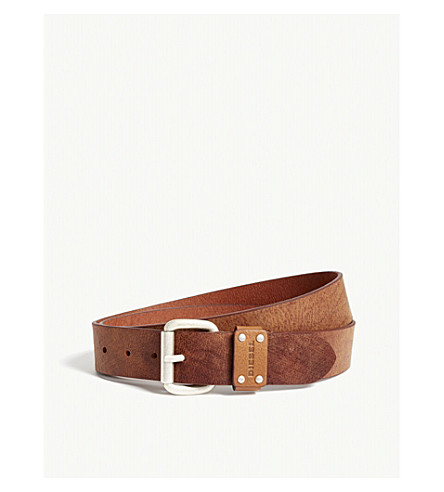 DIESEL B-drew texture leather belt (Major+brown