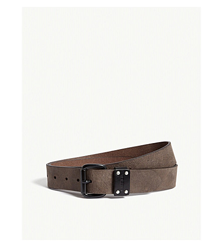 DIESEL B-drew texture leather belt (Mocha+bisque