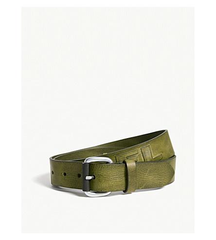 DIESEL B-Dieselxx leather belt (Dark+olive