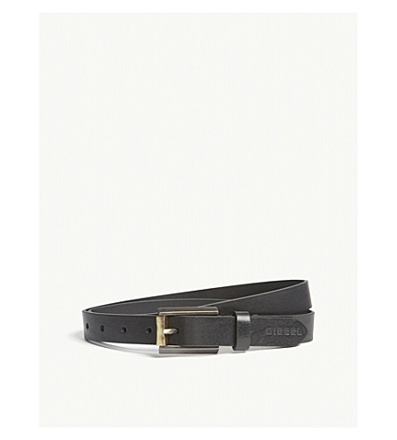 DIESEL B-Dagger slim leather belt (Black