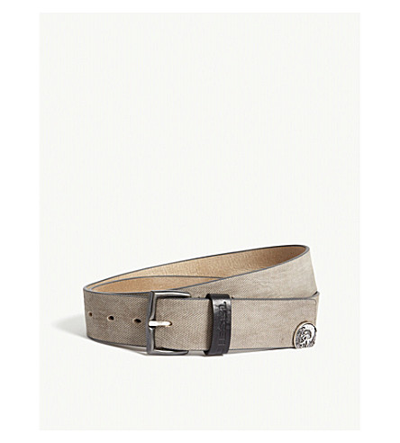 DIESEL B-denim leather belt (Brindle