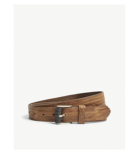 DIESEL B-Bolt textured leather belt (Sepia