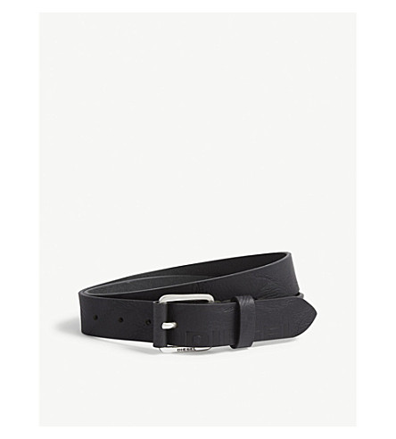 DIESEL B-Log buffalo leather belt (Black