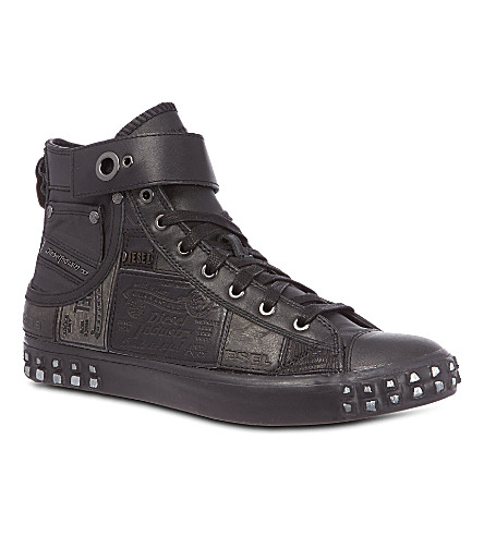 DIESEL Reboot leather high-top sneakers (Black