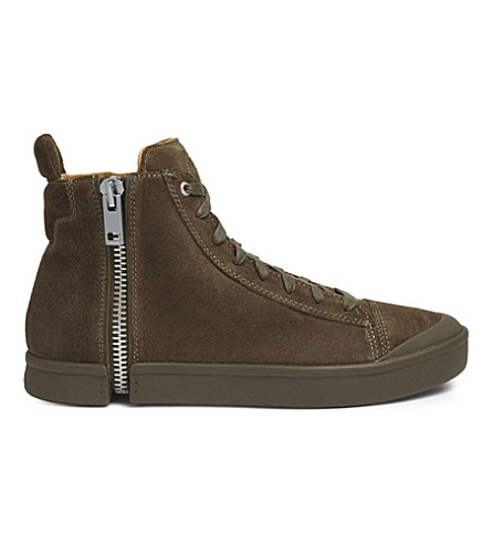 DIESEL S-Nentish suede high-top trainers (Covert+green