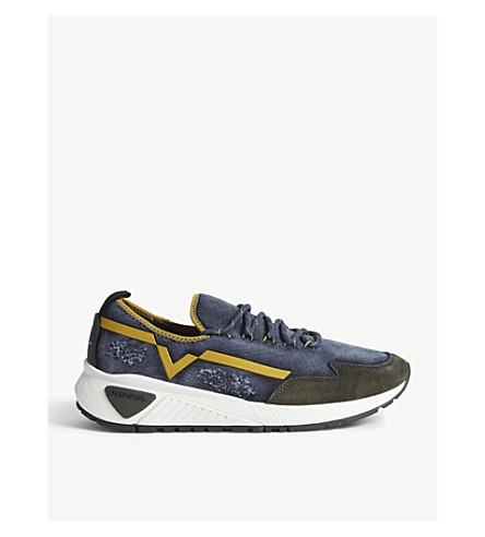 DIESEL S-kby denim trainers (Navy/forest/+yellow