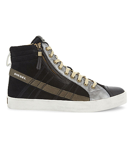 DIESEL D-String Plus suede trainers (Black/olive+night
