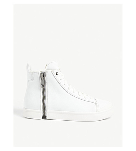 DIESEL S-Nentish leather high-top trainers (White