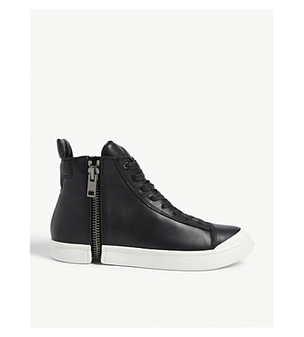 DIESEL S-Nentish leather high-top trainers (Black