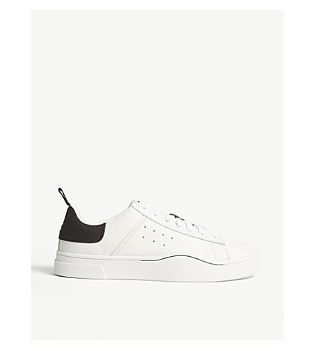 DIESEL S-Clever leather low-top trainers (White/black