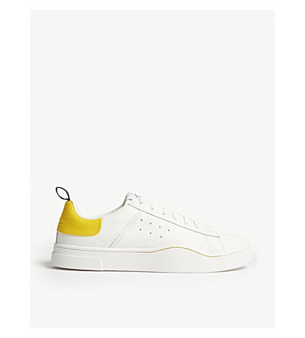 DIESEL S-Clever leather low-top trainers (White/lemon+chrome