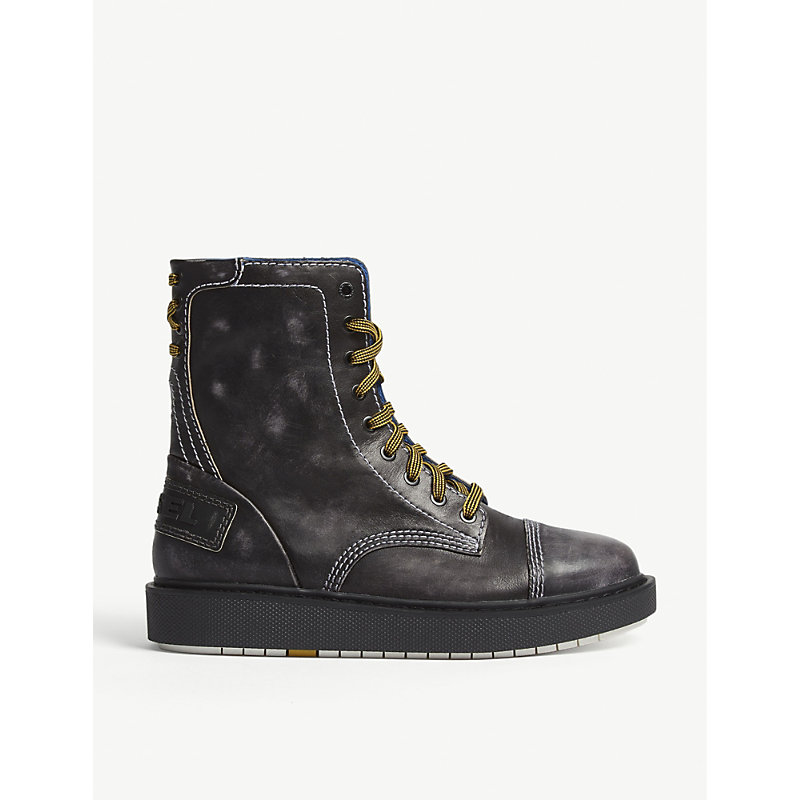 DIESEL CAGE LEATHER COMBAT BOOTS