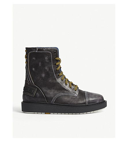 DIESEL Cage leather combat boots (Black