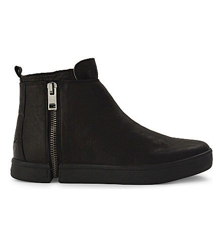 DIESEL S-Leeve leather high-top trainers (Black