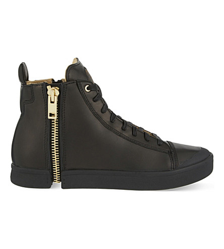 DIESEL S-Nentish 皮革高帮运动鞋 (黑色