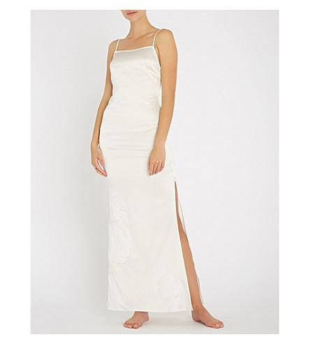 MYLA Primrose Hill floral-embroidered stretch silk-satin night dress (Ivory