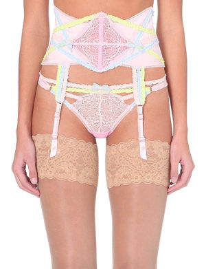MYLA Candy satin and lace suspender