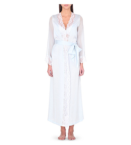 MYLA Isabella long satin robe (Dusted blue/white