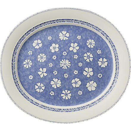 VILLEROY & BOCH Farmhouse Touch Blueflowers oval platter 42cm