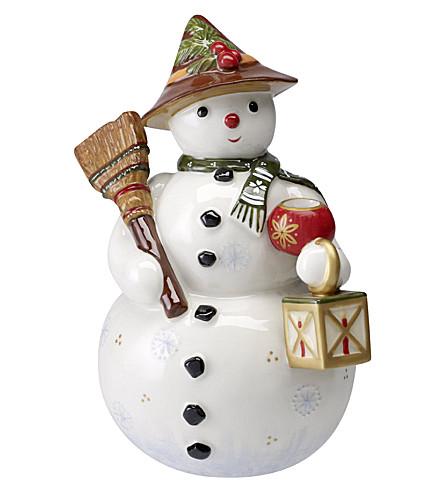 VILLEROY & BOCH Nostalgic Snowman porcelain candle holder 18cm