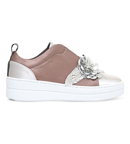 KURT GEIGER LONDON Loop embellished satin trainers (Silver