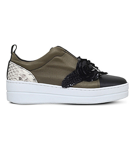 KURT GEIGER LONDON Loop embellished satin trainers (Khaki