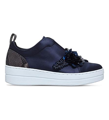 KURT GEIGER LONDON Loop embellished satin sneakers (Navy