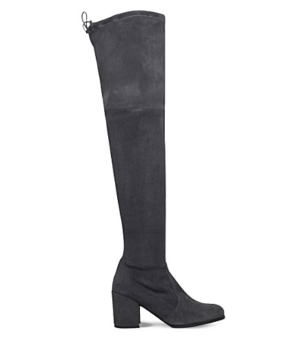 STUART WEITZMAN Tieland suede over-the-knee boots (Grey/dark