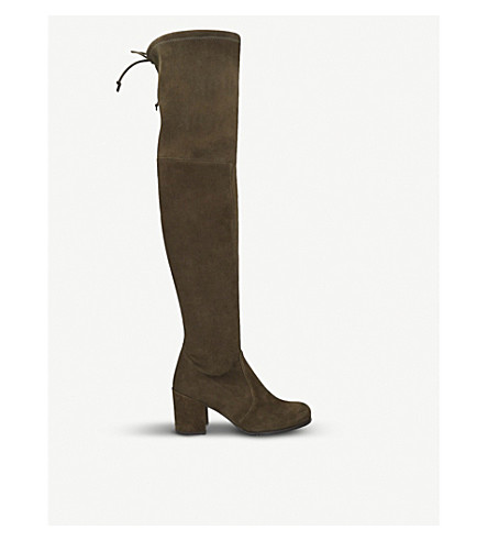 STUART WEITZMAN Tieland suede over-the-knee boots (Khaki