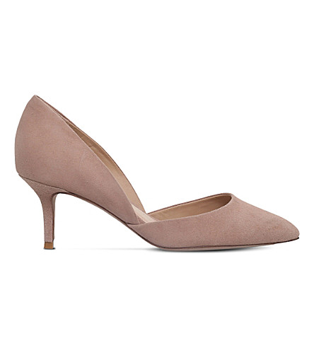 KURT GEIGER LONDON Talli d'Orsay suede court shoes (Beige