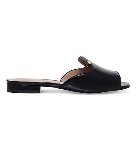 KURT GEIGER LONDON Ivy slip-on patent-leather mules (Black