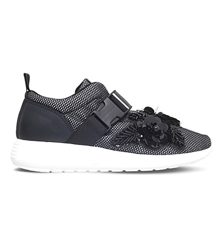 KURT GEIGER LONDON Lawson embellished mesh sneakers (Black
