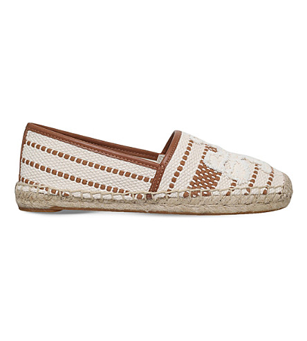 TORY BURCH Shaw striped cotton espadrilles (Tan