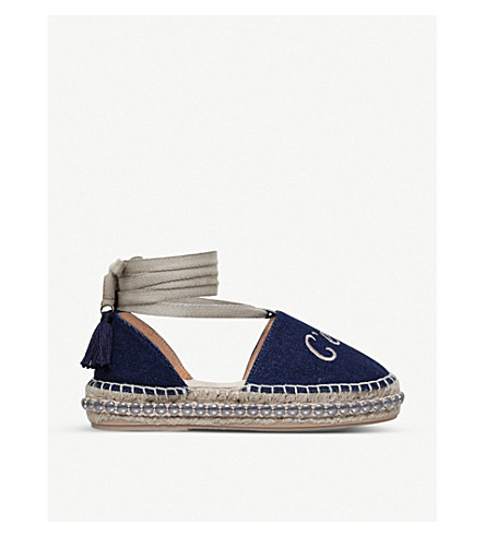 KURT GEIGER LONDON Pierre embroidered platform espadrilles (Navy