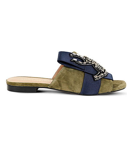 KURT GEIGER LONDON Nala embellished suede mules (Navy