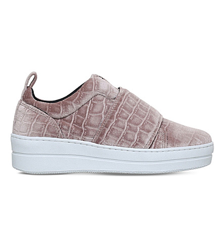 KURT GEIGER LONDON Labelle crocodile-embossed trainers (Pale+pink