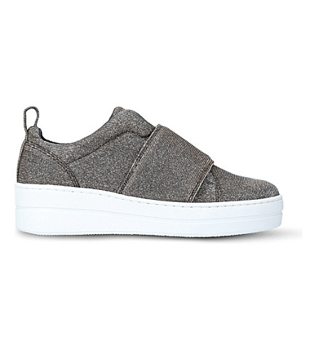 KURT GEIGER LONDON Labelle woven flatform trainers (Metal+comb